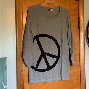 H&M: gray and black PEACE sign sweater